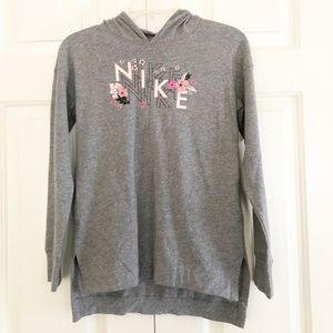 NWT Girls NIKE Logo Pull Over Hoodie Grey Sz M, XL